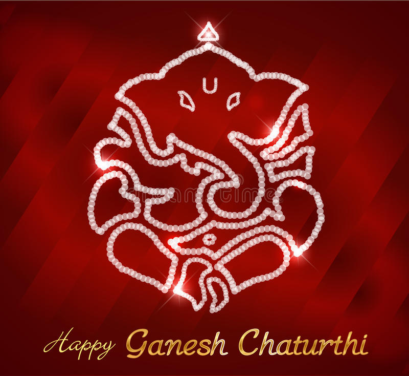印地安神ganesha,愉快的ganesh chaturthi卡片 免版税图库摄影