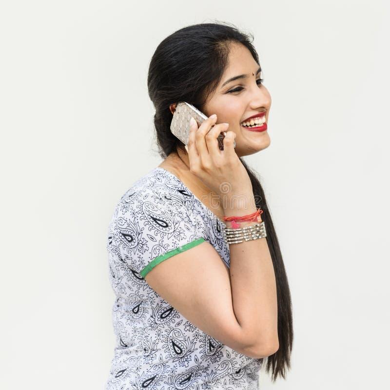 印地安种族电信谈的数据概念 库存照片