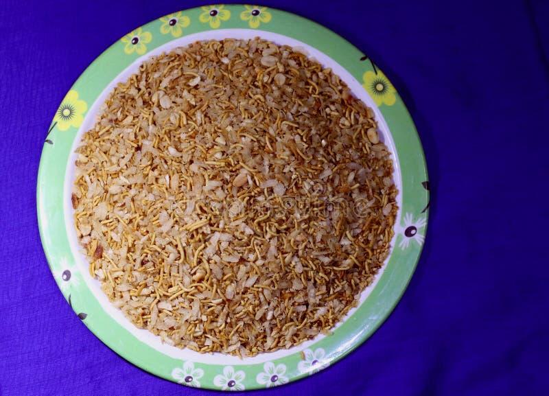 印地安自创混杂的Namkeen快餐 免版税图库摄影
