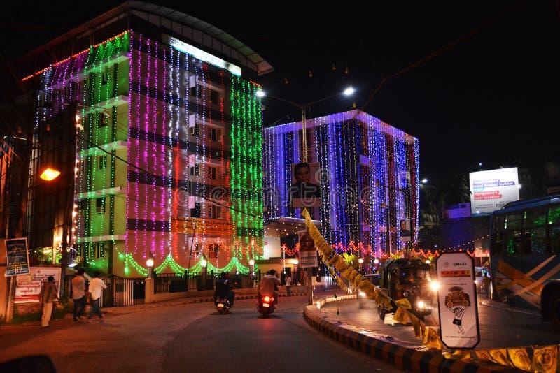 印地安节日在晚上 免版税库存照片