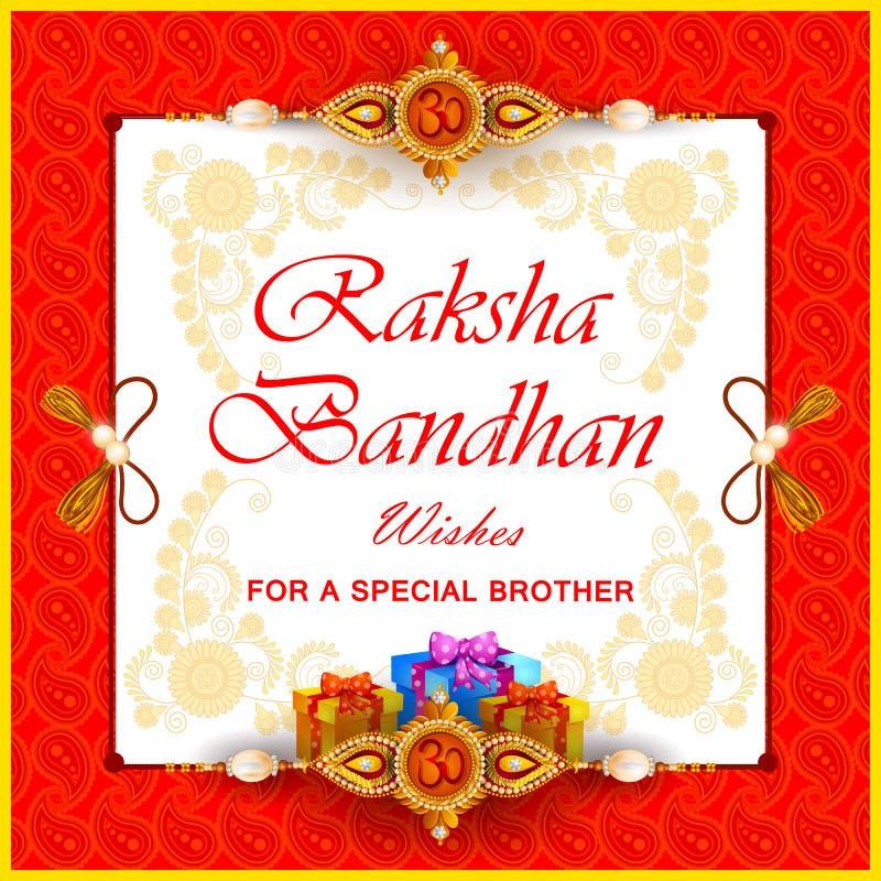 印地安节日Raksha bandhan庆祝的Rakhi背景 库存例证
