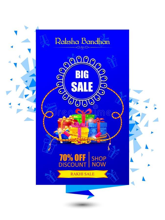 印地安节日Raksha Bandhan购物推销活动提议的装饰的Rakhi 库存例证
