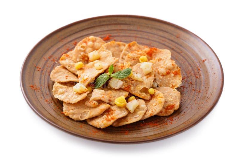 印地安街道食物papri chaat 免版税库存照片