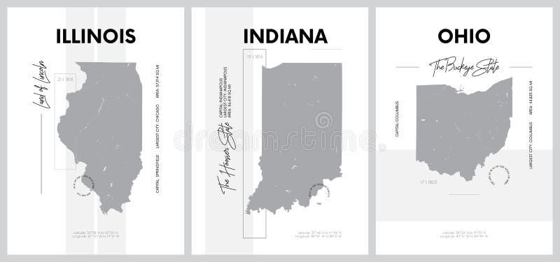 印地安那州东北中 — 伊利诺伊分区美国各州地图轮廓非常详细的矢量海报 库存例证