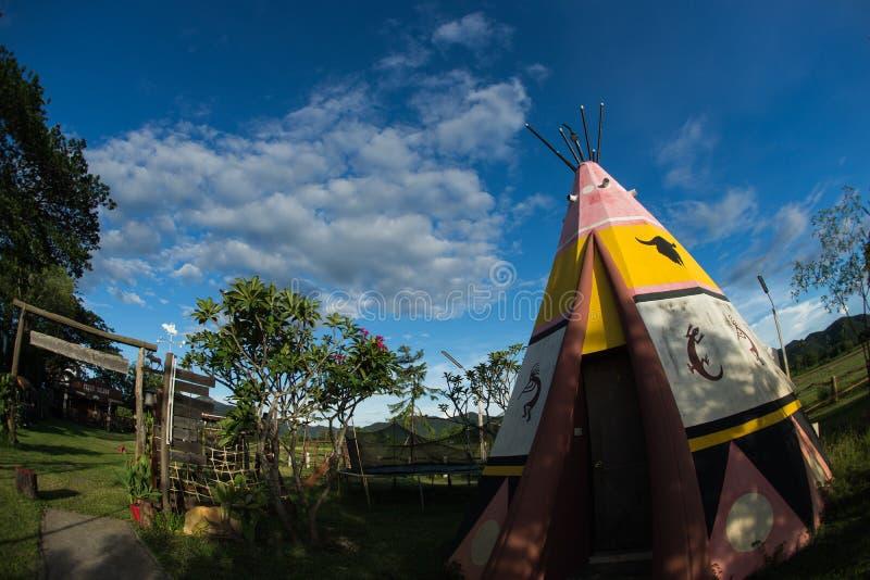 印地安野营的帐篷 免版税库存照片