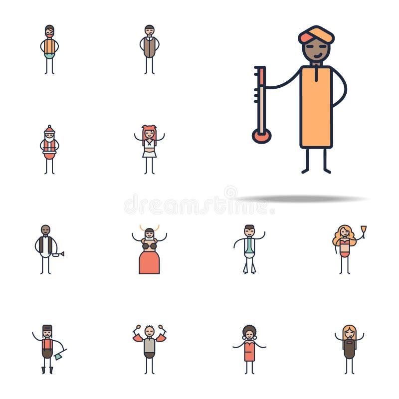 印地安音乐家象 线性音乐网和机动性的风格象全集 向量例证