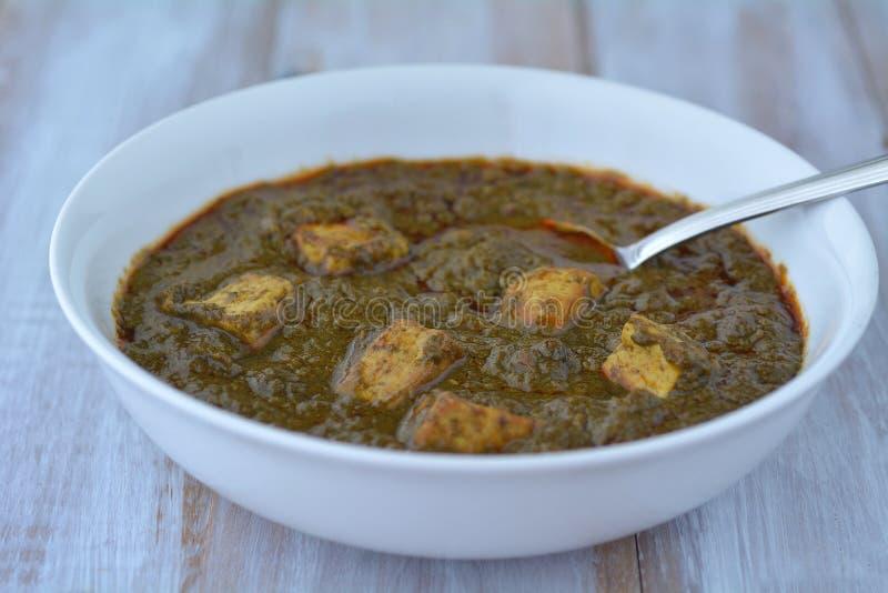印地安食物-传统旁遮普语Palak Paneer 库存图片