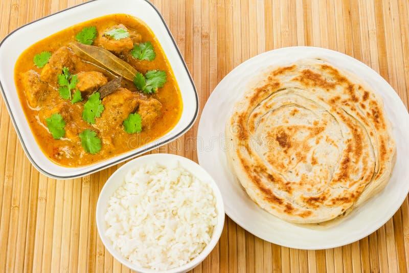 印地安鸡咖喱膳食 库存照片
