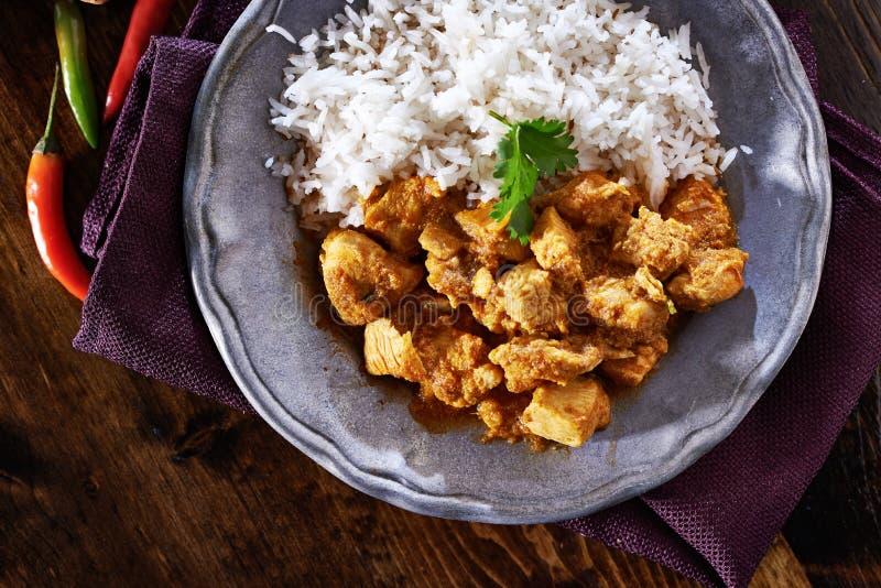 印地安鸡咖喱顶上的看法  免版税库存图片