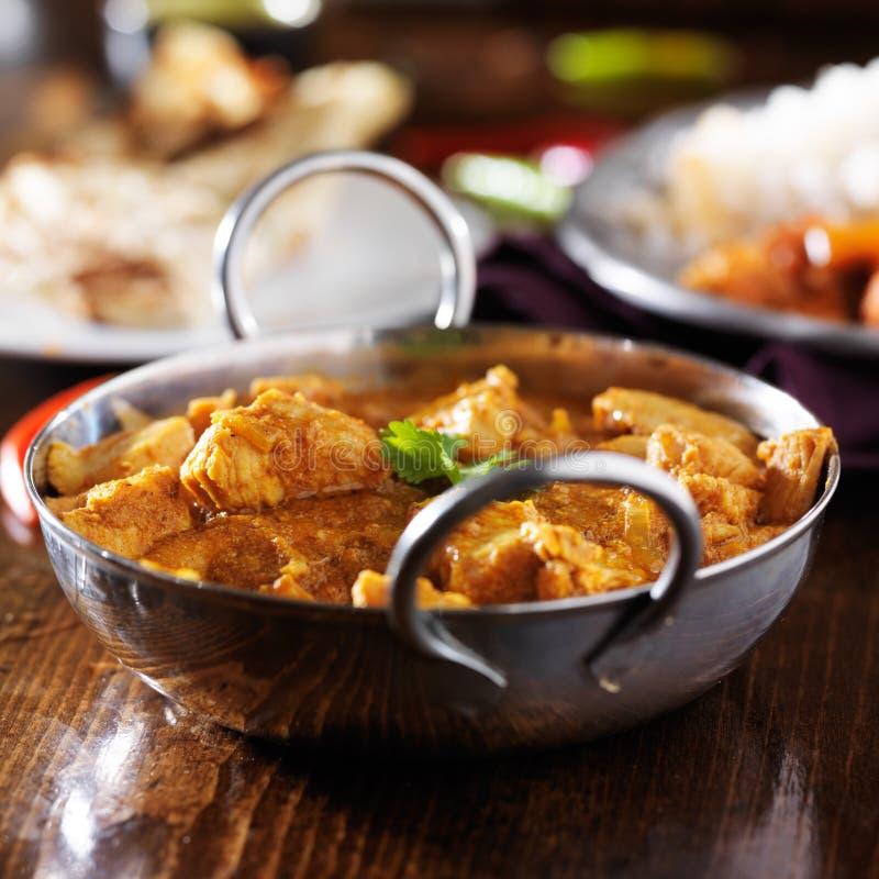 印地安黄油鸡咖喱用印度大米 免版税库存照片