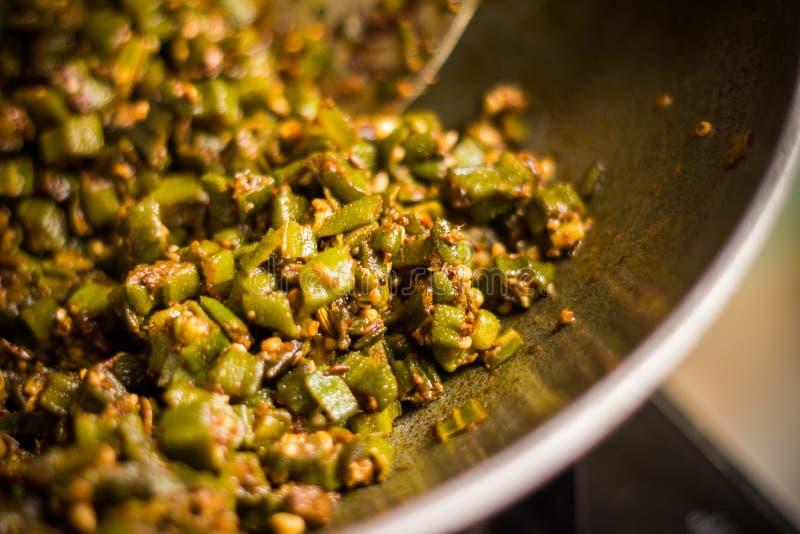 印地安masala油煎的bhindi或松脆饼 图库摄影