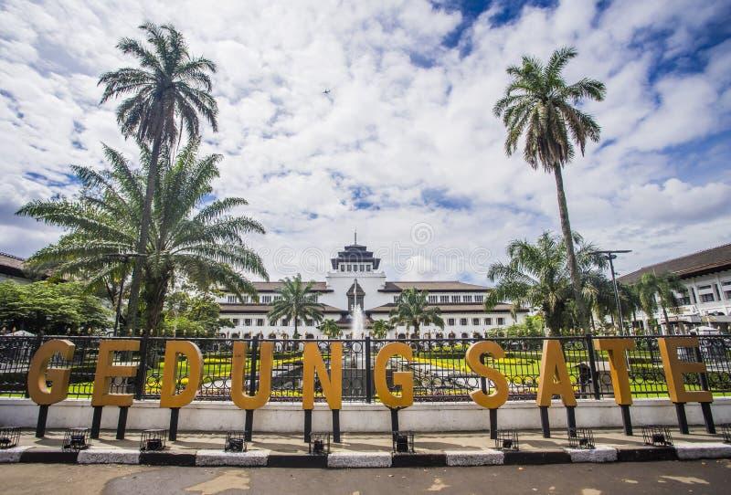 印尼万隆艺术装饰风格的古老历史建筑 — 盖东国 库存图片
