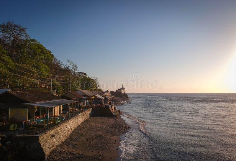 印尼巴纽旺吉瓦图多多海滩美丽的早晨 图库摄影