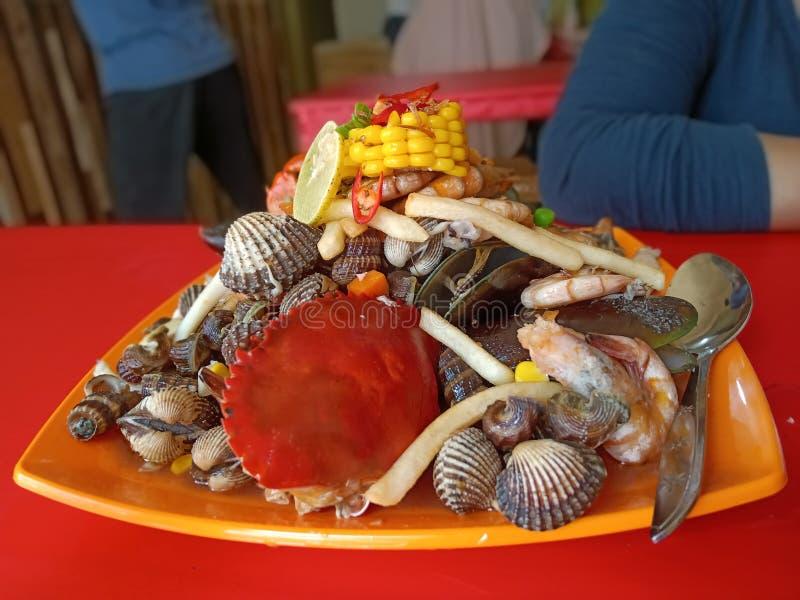 印尼班加马辛海鲜餐厅 库存照片