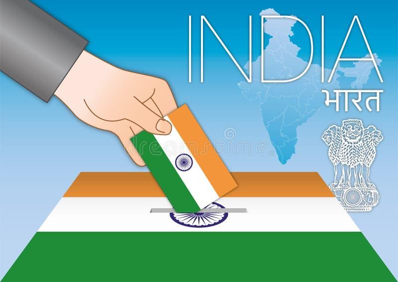 印度、全国大选、手有旗子的和地图 皇族释放例证