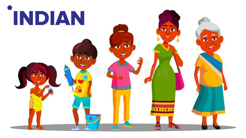 印度一代女性集合人人传染媒介 印度母亲,女儿,孙女,婴孩 按钮查出的现有量例证推进s启动妇女 库存例证