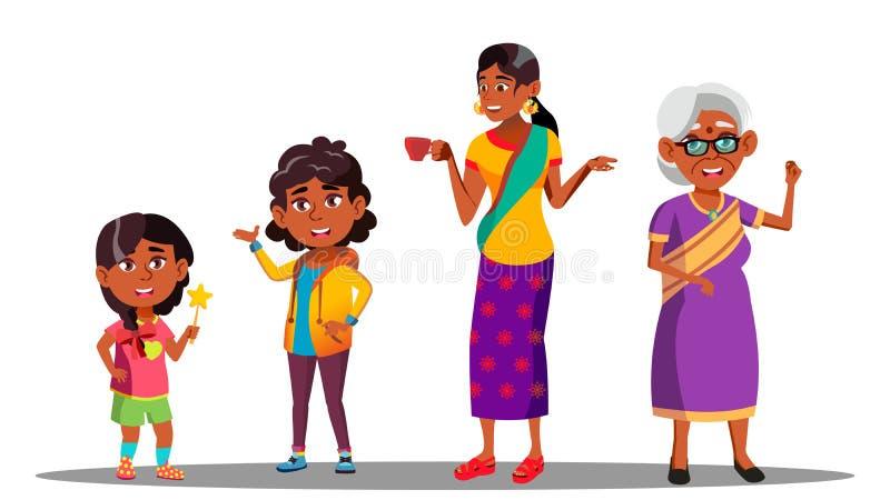 印度一代女性集合传染媒介 祖母,母亲,女儿,孙女,婴孩 向量 按钮查出的现有量例证推进s启动妇女 库存例证