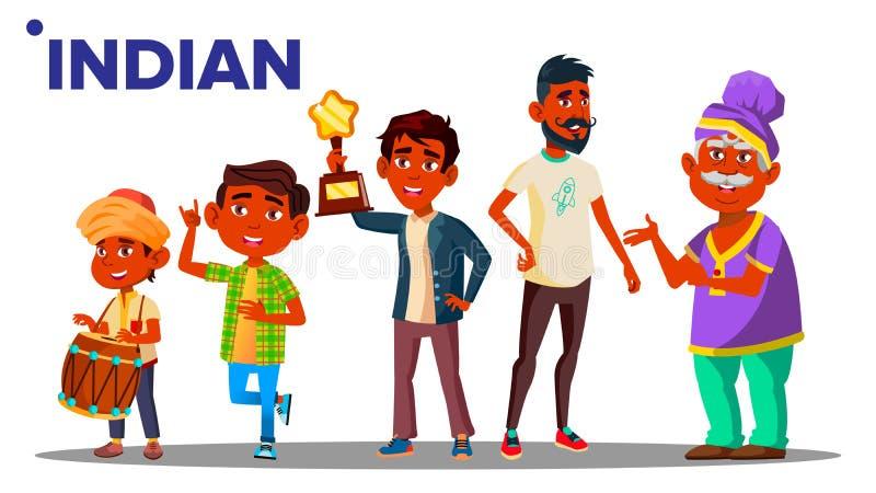 印度一代男性人人传染媒介 印度祖父,父亲,儿子,孙子,婴孩传染媒介 查出 向量例证