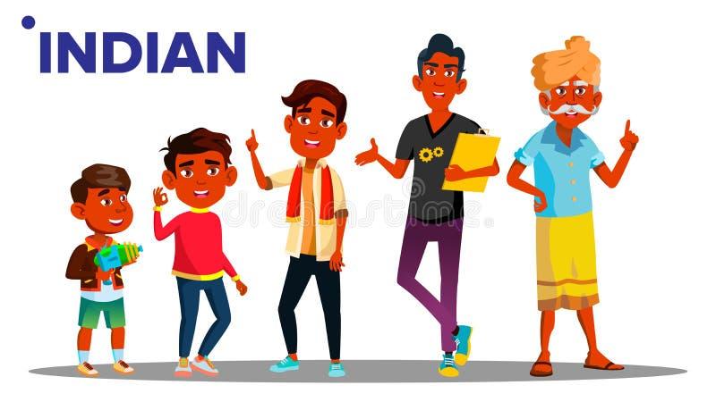 印度一代男性设置了人人传染媒介 印度祖父,父亲,儿子,孙子,婴孩传染媒介 向量 皇族释放例证