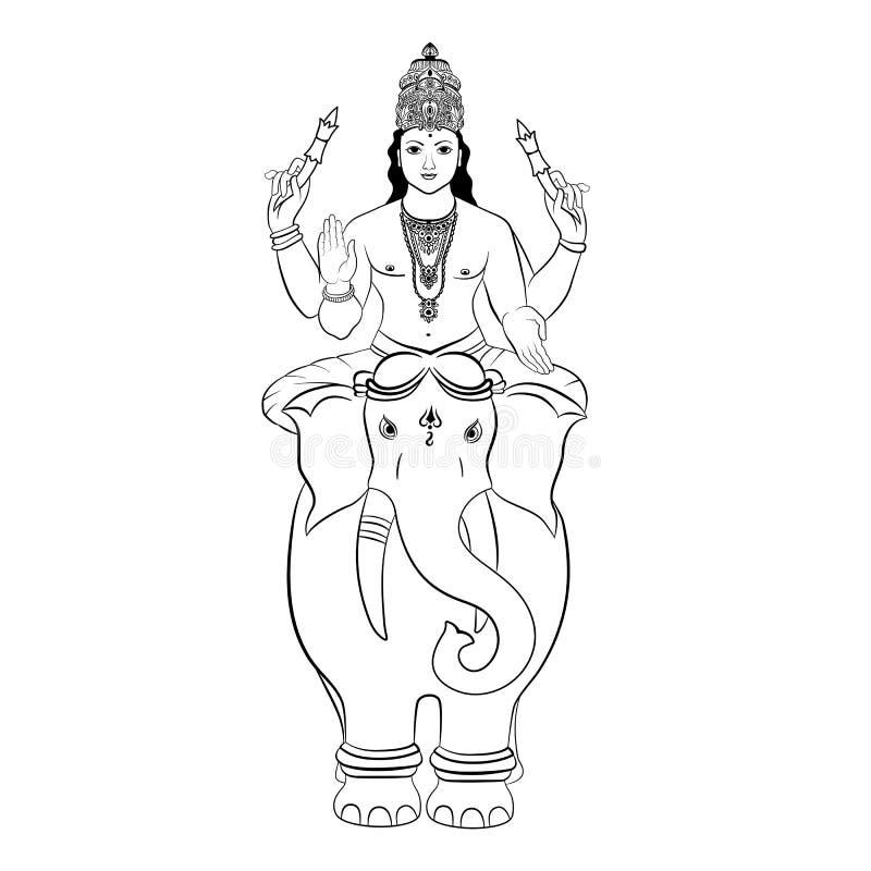 印度上帝Indra坐大象 向量 库存例证