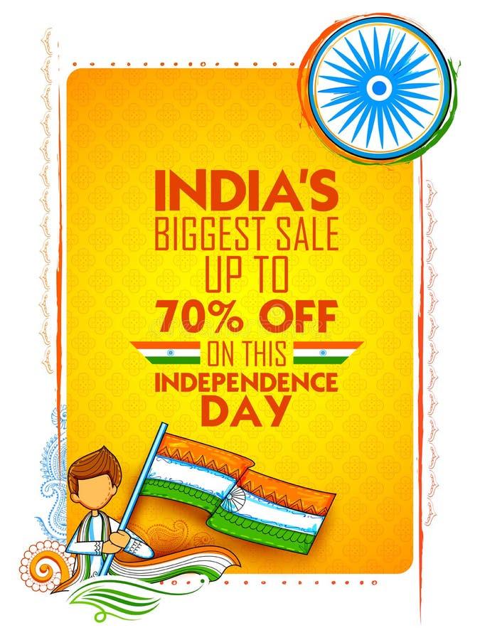 印度与三色印地安的旗子的销售横幅美国独立日  皇族释放例证