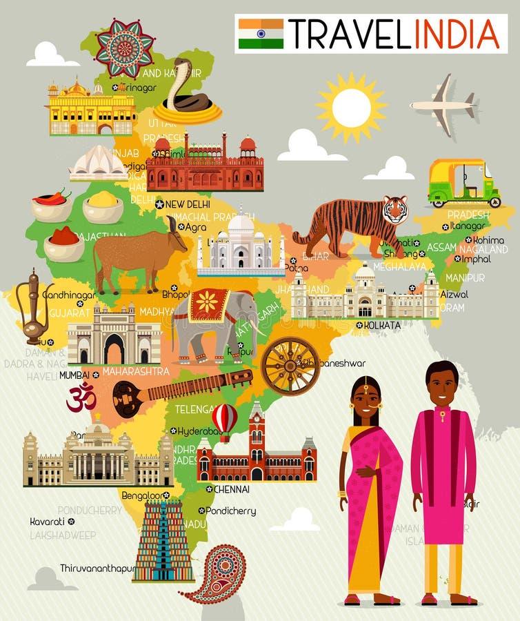 印度与观光的地方的旅行地图 库存例证