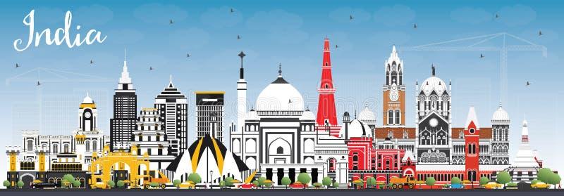 印度与颜色大厦和蓝天的市地平线 德里 妈咪 库存例证
