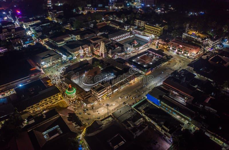 印度乌都皮寺,空中无人机 免版税库存图片