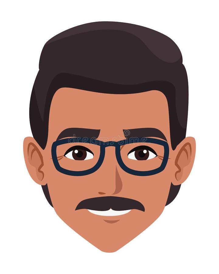 印度人面孔具体化动画片 向量例证
