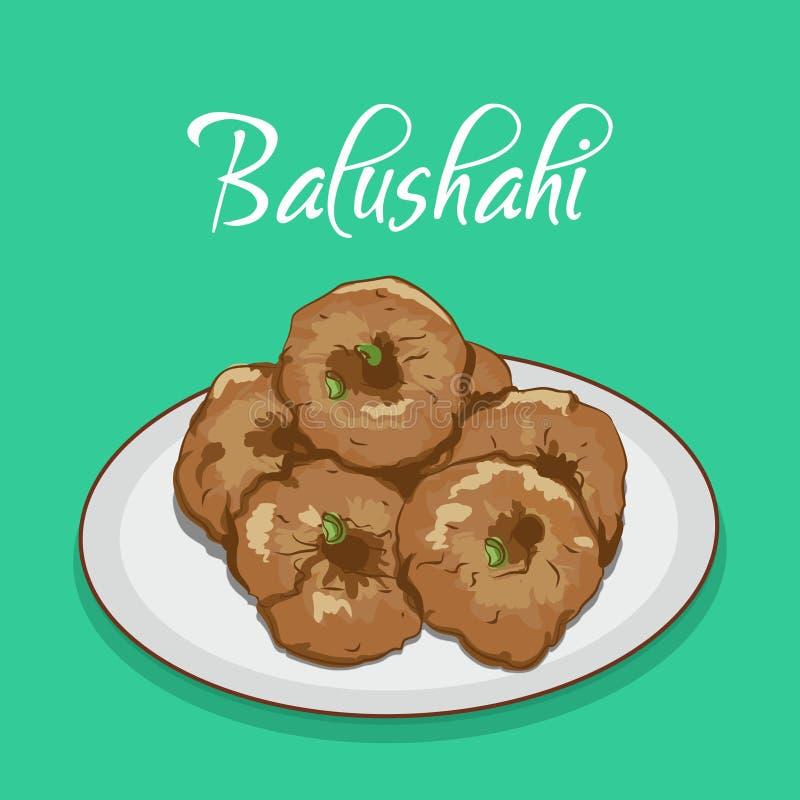 印度传统甜点或点心balushahi mithai传染媒介例证 库存例证