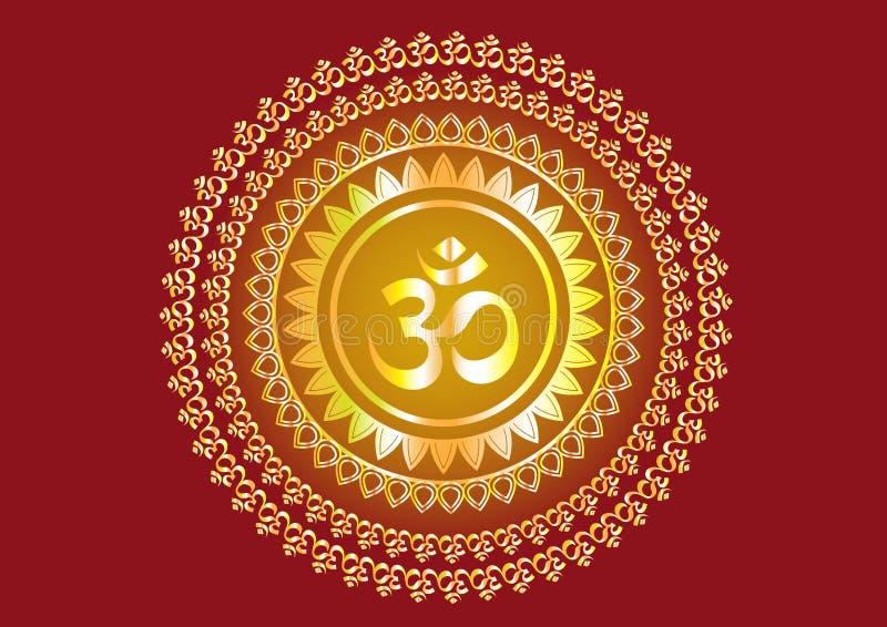 印度佛经文字` Shree `和`奥姆`或` Om `设计 免版税库存照片