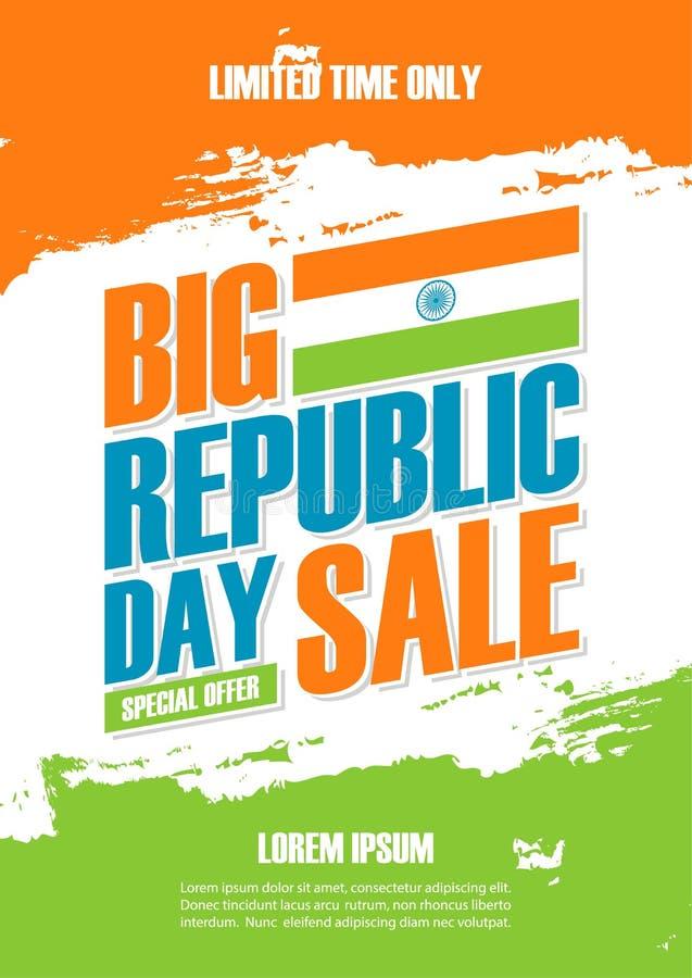 印度共和国天假日销售海报 在印地安国旗颜色的特价优待背景掠过事务的冲程 向量例证