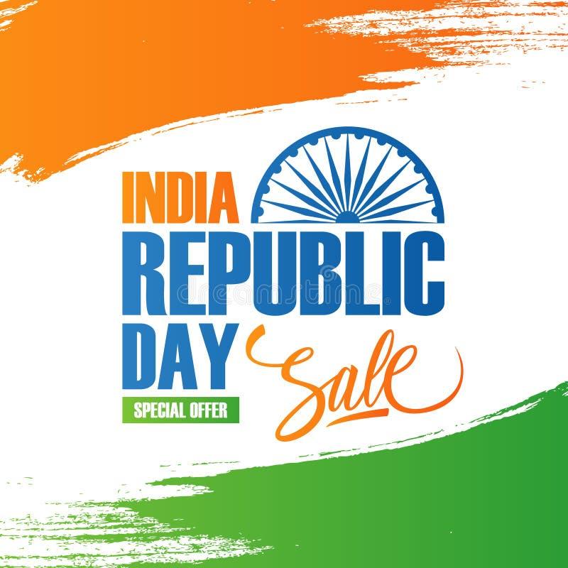 印度共和国天销售横幅 与刷子冲程的特价优待背景在印地安国旗颜色和字法 库存例证