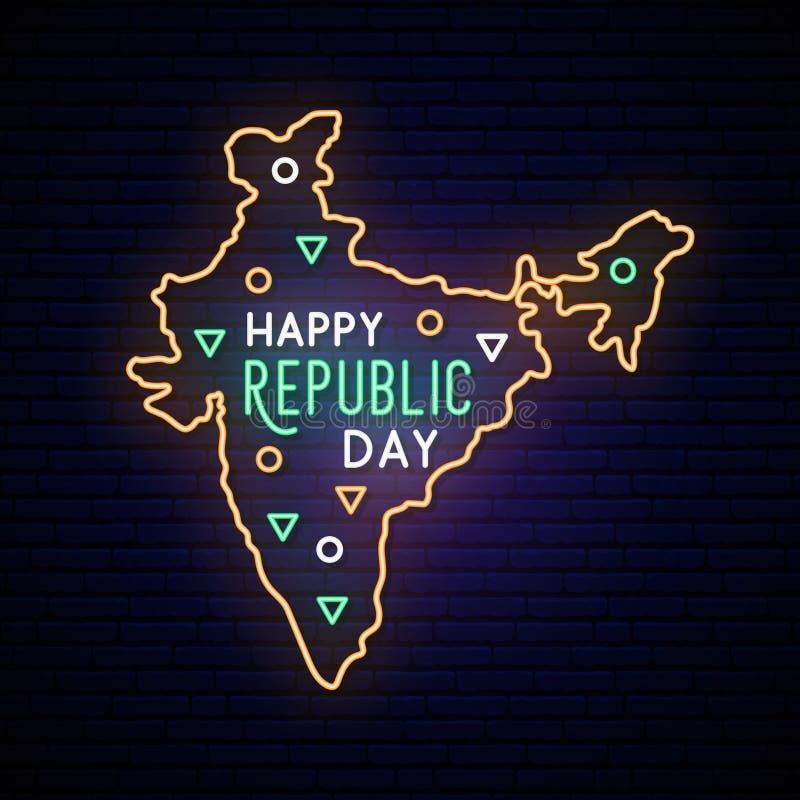 印度共和国天霓虹地图 向量例证