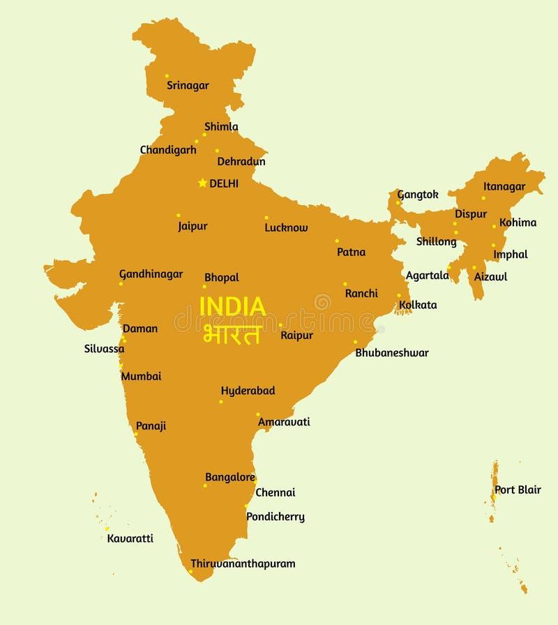 印度共和国映射 库存例证