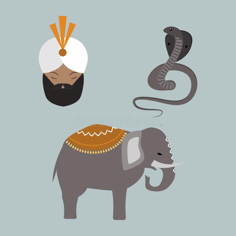 印度动物和budda传染媒介象 向量例证