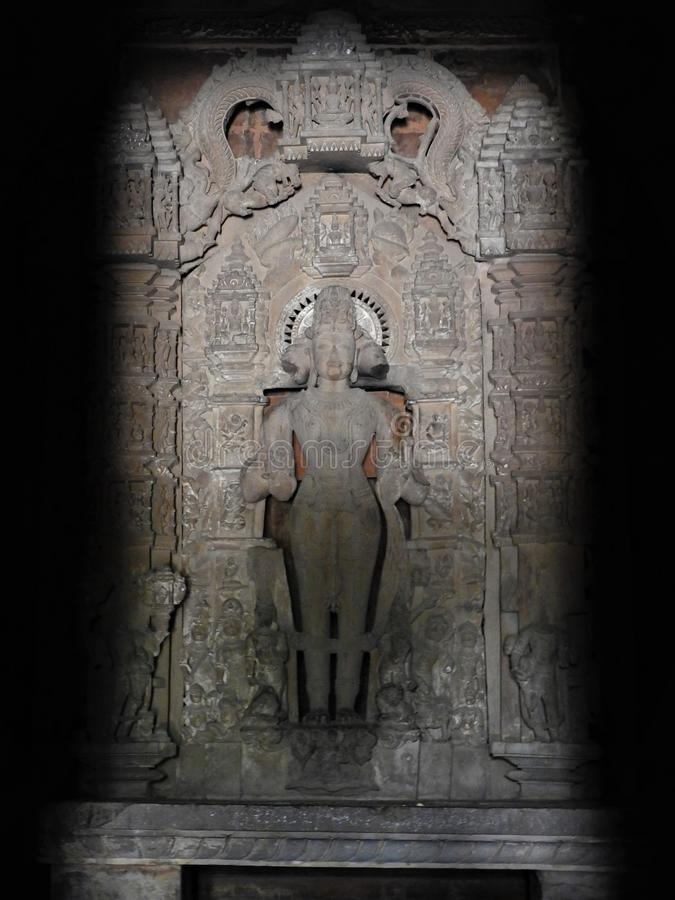 印度卡朱拉霍古经寺院墙上的室内 联合国教科文组织世界遗产 印度最著名的地标 库存图片