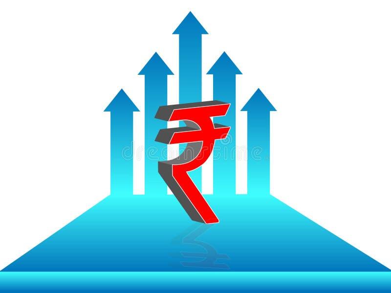 印度卢比标志,与增长的箭头,例证 皇族释放例证