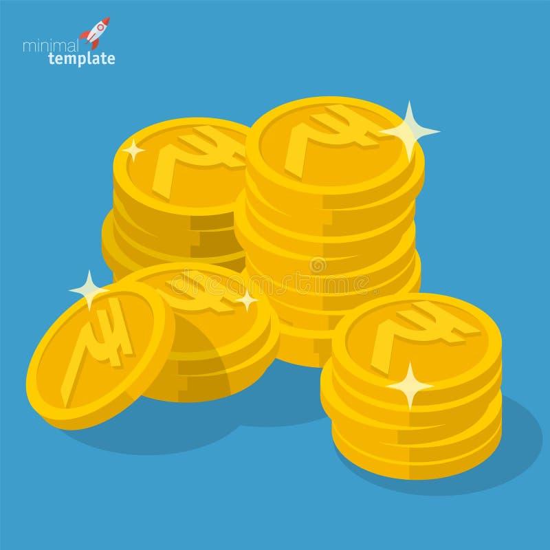 印度卢比金币堆 皇族释放例证