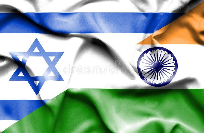 印度和以色列的挥动的旗子 库存例证