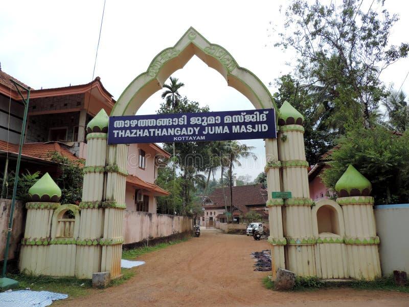 印度喀拉拉邦Thazhatangady Juma Masjid的入口 库存图片