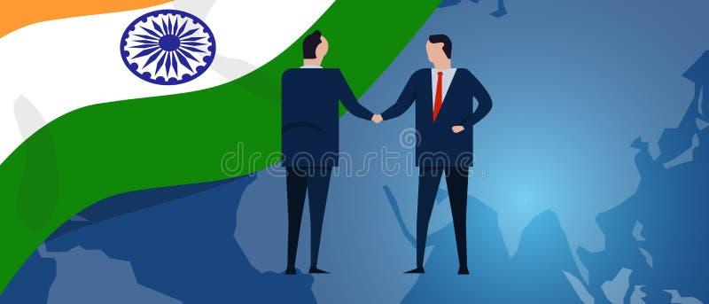 印度国际性组织合作 外交交涉 营业关系协议握手 国旗和地图 向量例证