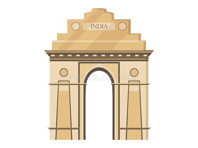 印度在白色背景的门隔离 印度,新德里的标志 在一个平的样式的例证 向量例证