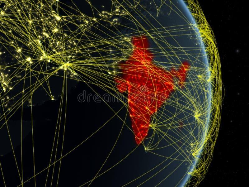 印度在行星行星地球上的晚上与网络 连通性、旅行和通信的概念 3d例证 要素 库存例证
