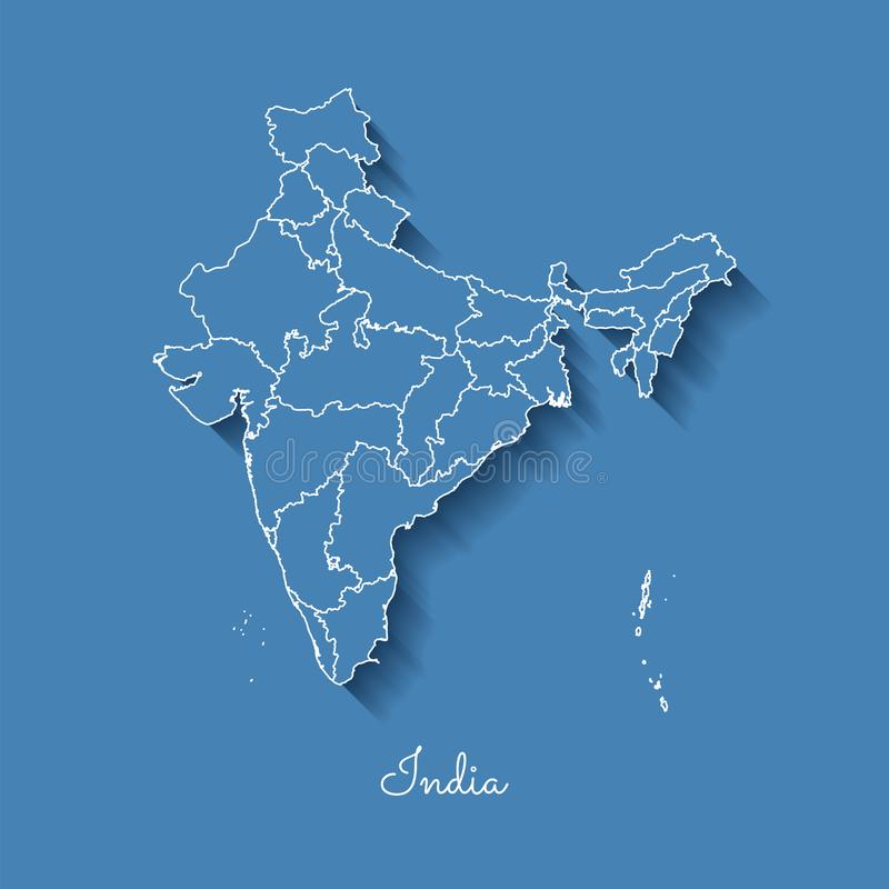 印度地区地图:与白色概述的蓝色和 皇族释放例证