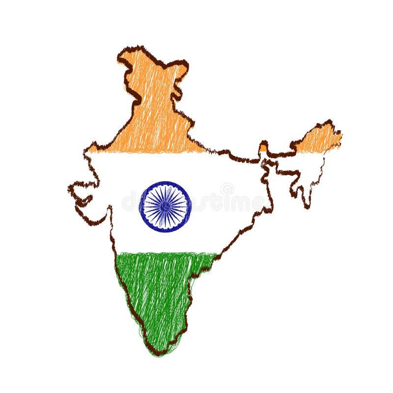 印度地图和旗子在手拉的剪影 库存例证