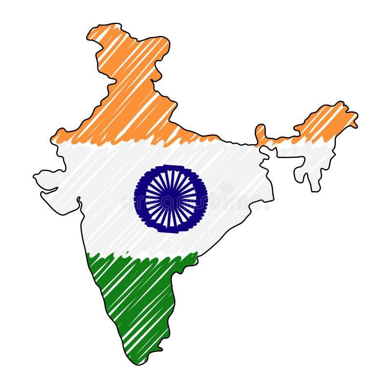 印度地图手拉的剪影 传染媒介概念例证旗子,儿童的图画,杂文地图 国家地图为 皇族释放例证