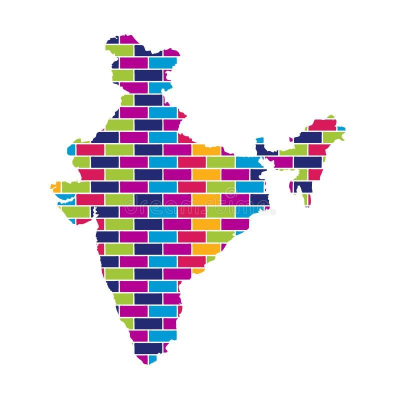 印度地图有多色的砖样式背景 皇族释放例证