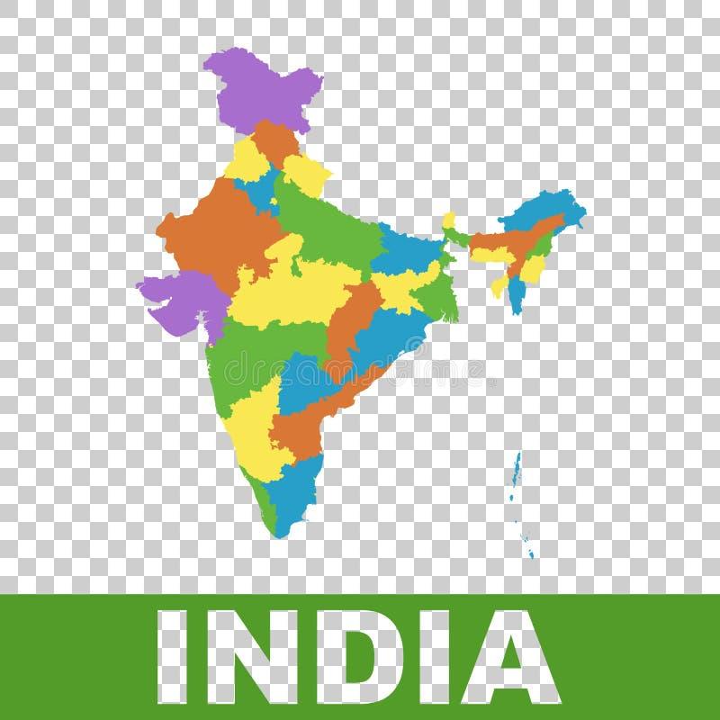印度地图以联邦政府 平的传染媒介 皇族释放例证