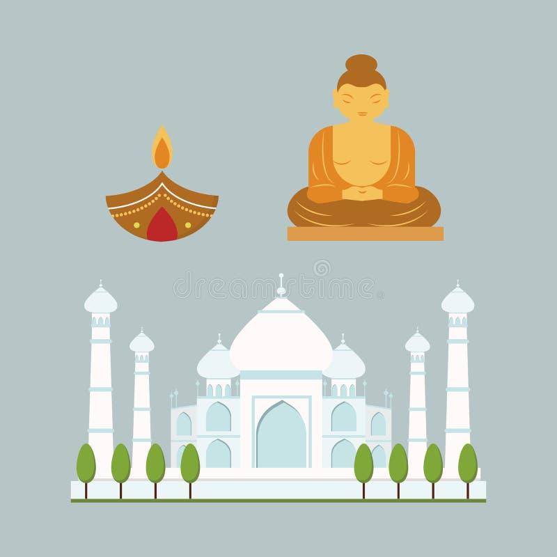 印度地标旅行传染媒介象汇集 向量例证
